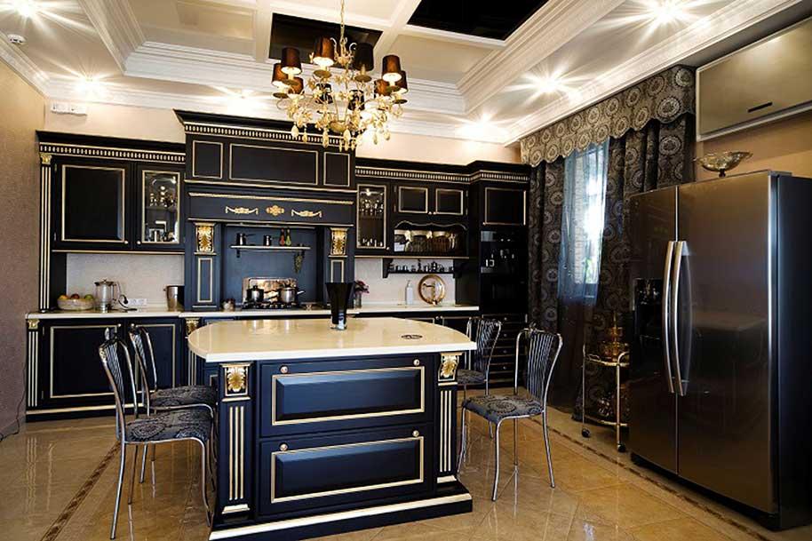 Cucine di lusso classiche laccate nere